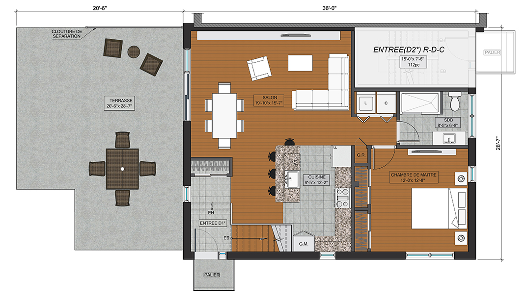 Floor plans bobois luxury townhomes lasalle montreal Luxury townhome floor plans